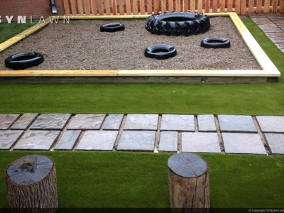 SYNLawn-artificial-grass-play-backyard-sand-box-with-tires